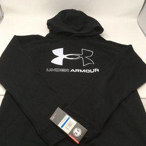 Under Armour Boys' Fleece Logo Hoodie, Black, YXL